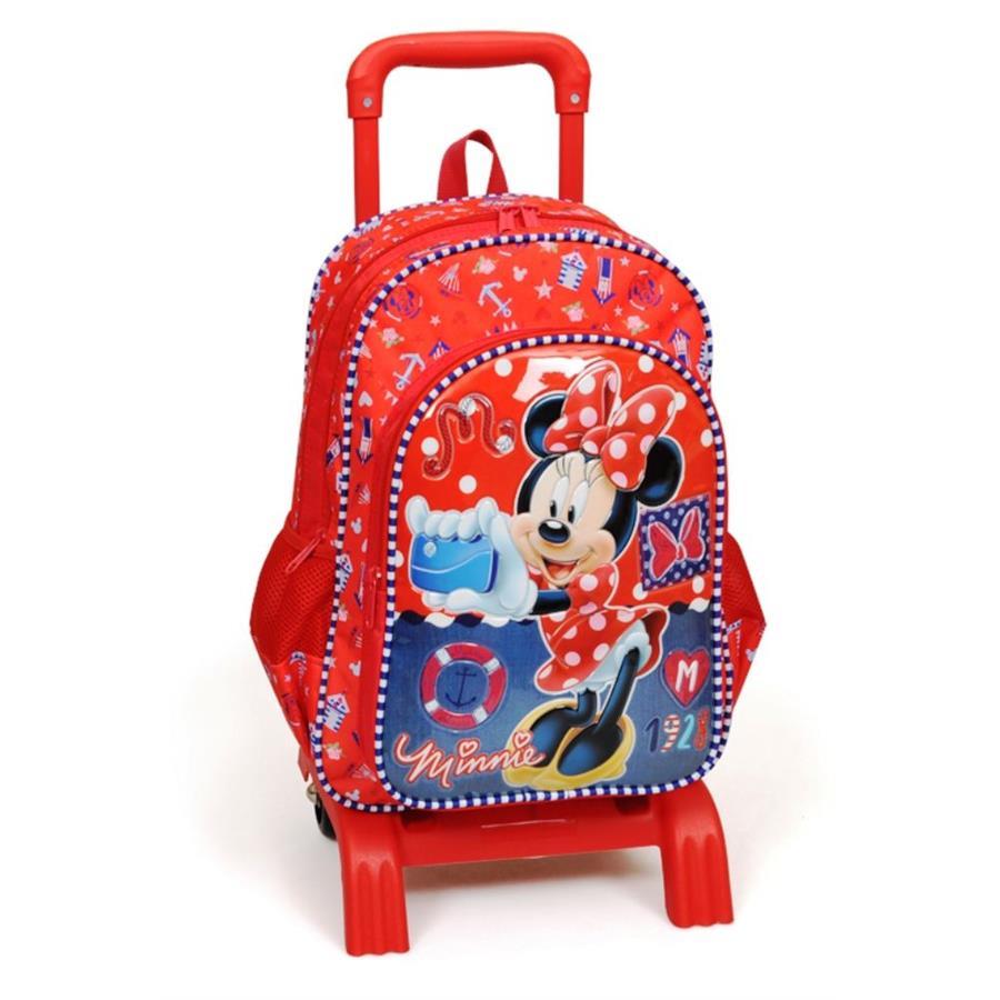 40b9099ac3306 Minnie Mouse Gemici Kırmızı Çek Çek Okul Çantası