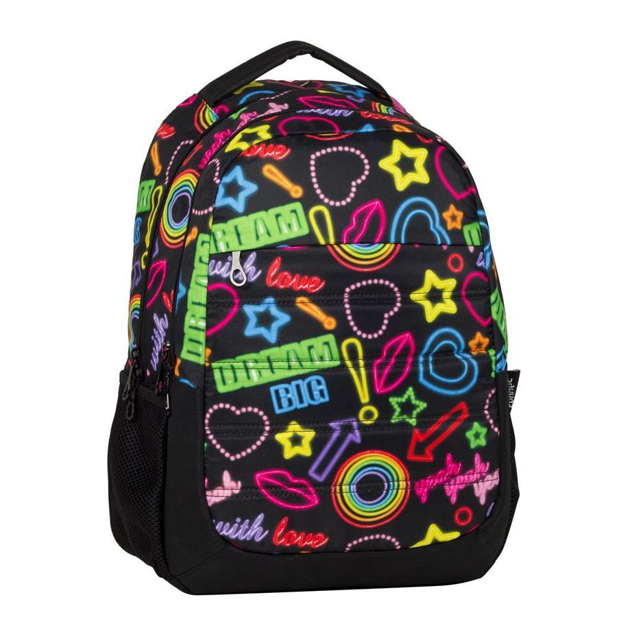 69875fb0082e0 Cennec 712 Neon Baskılı İlkokul ve Ortaokul Sırt Çantası - Üç Bölme