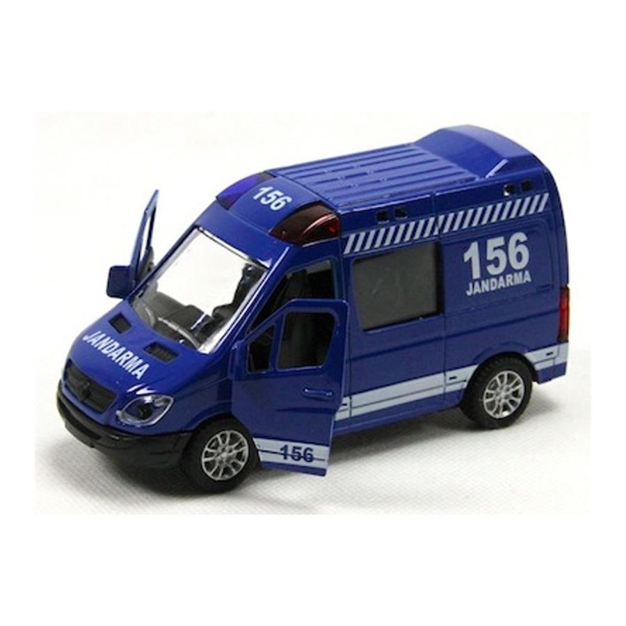 Isikli Ve Muzikli 1 48 Cek Birak Metal 156 Jandarma Minibusu Mavi