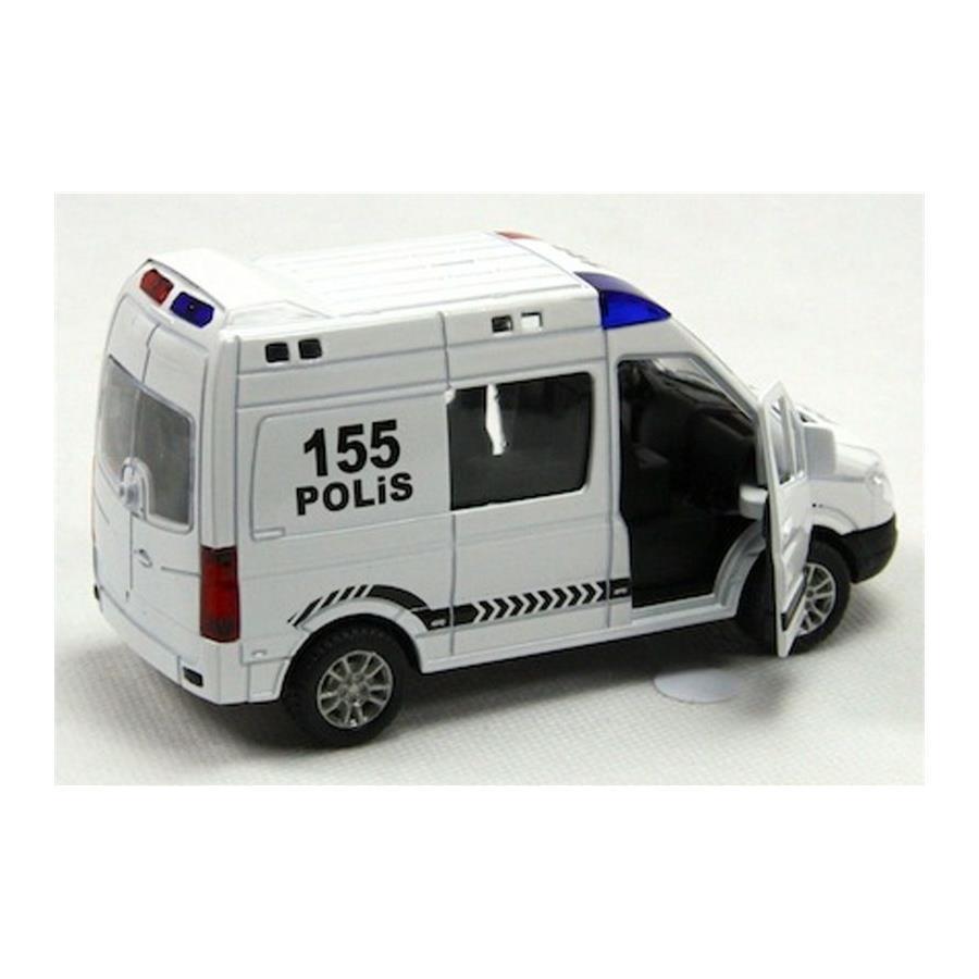 Isikli Ve Muzikli 1 48 Cek Birak Metal 155 Polis Minibusu Beyaz