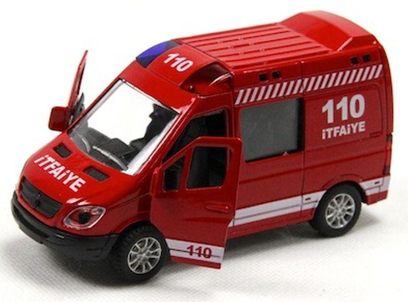 Sesli Ve Isikli Cek Birak Metal 110 Itfaiye Minibusu 12 Cm
