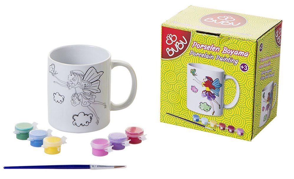 Bubu Kelebek Desenli Porselen Kupa Boyama Seti