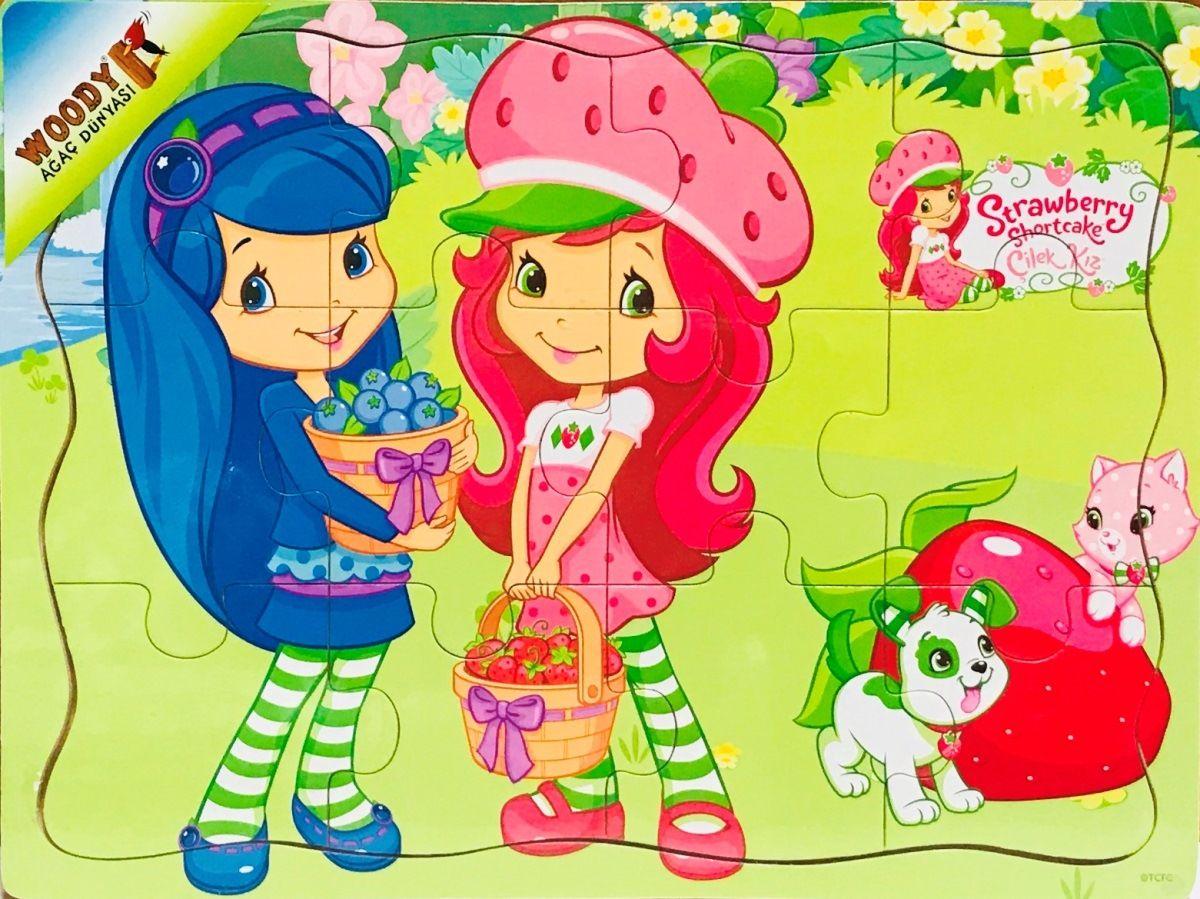 Strawberry Shortcake Cilek Kiz 12 Parca Tahta Yapboz Cilek Toplama